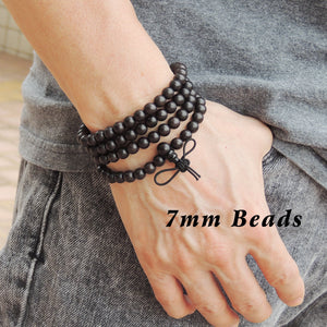 7mm Vietnamese Sinking Agarwood 108 Beads Bracelet/Necklace for Meditation - Gem & Silver AW011