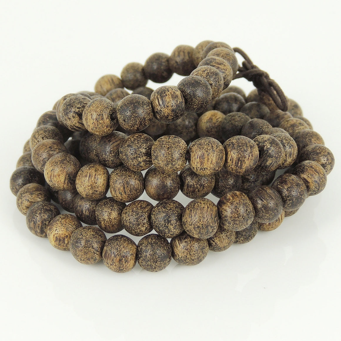 6.5mm Tiger Speckle Agarwood 108 Beads Bracelet/Necklace for Meditation - Gem & Silver AW014