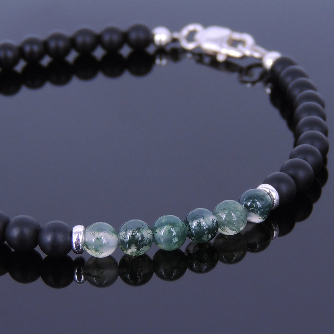 4mm Matte Black Onyx & Grass Agate Healing Gemstone Bracelet with S925 Sterling Silver Spacer Beads & Clasp - Handmade by Gem & Silver BR535