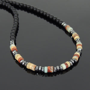 Jasper Stone, Matte Black Onyx, & Faceted Hematite Healing Gemstone Necklace with S925 Sterling Silver Spacer Beads & S-hook Clasp - Handmade by Gem & Silver NK059