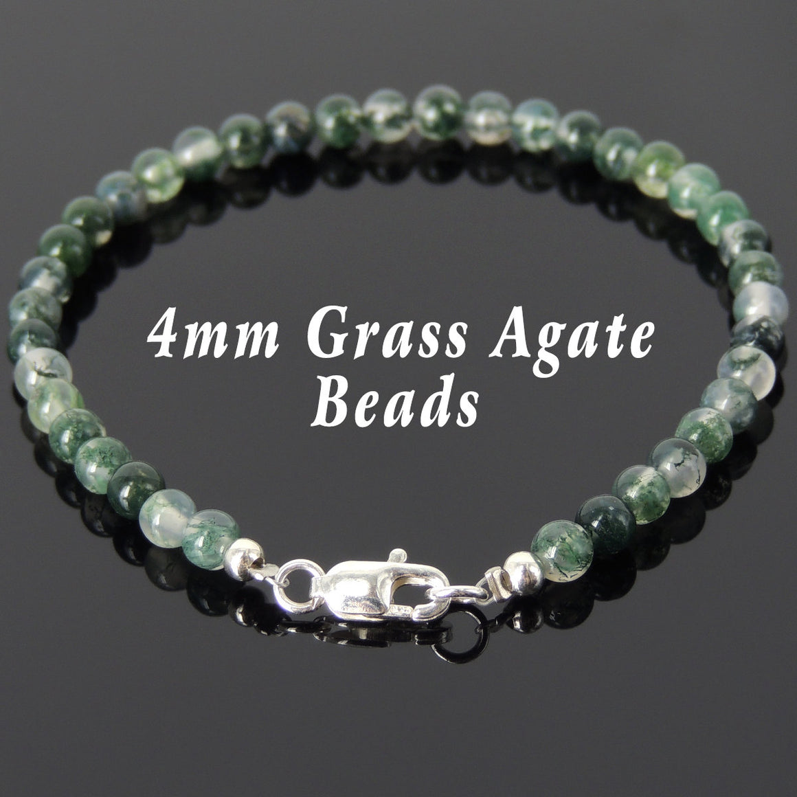 4mm Grass Agate Healing Gemstone Bracelet with S925 Sterling Silver Spacers Nugget Beads & Clasp - Handmade by Gem & Silver BR541