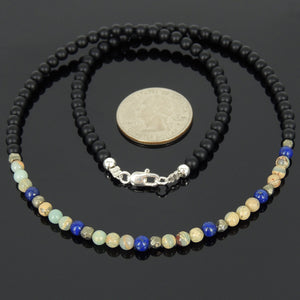 4mm Matte Black Onyx, Jasper Stone, Lapis Lazuli, & Faceted Gold Pyrite Healing Gemstone Necklace with S925 Sterling Silver Spacer Beads & Clasp - Handmade by Gem & Silver NK058
