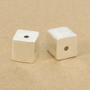 2 PCS Smooth Geometric Cube Beads - S925 Sterling Silver WSP348X2