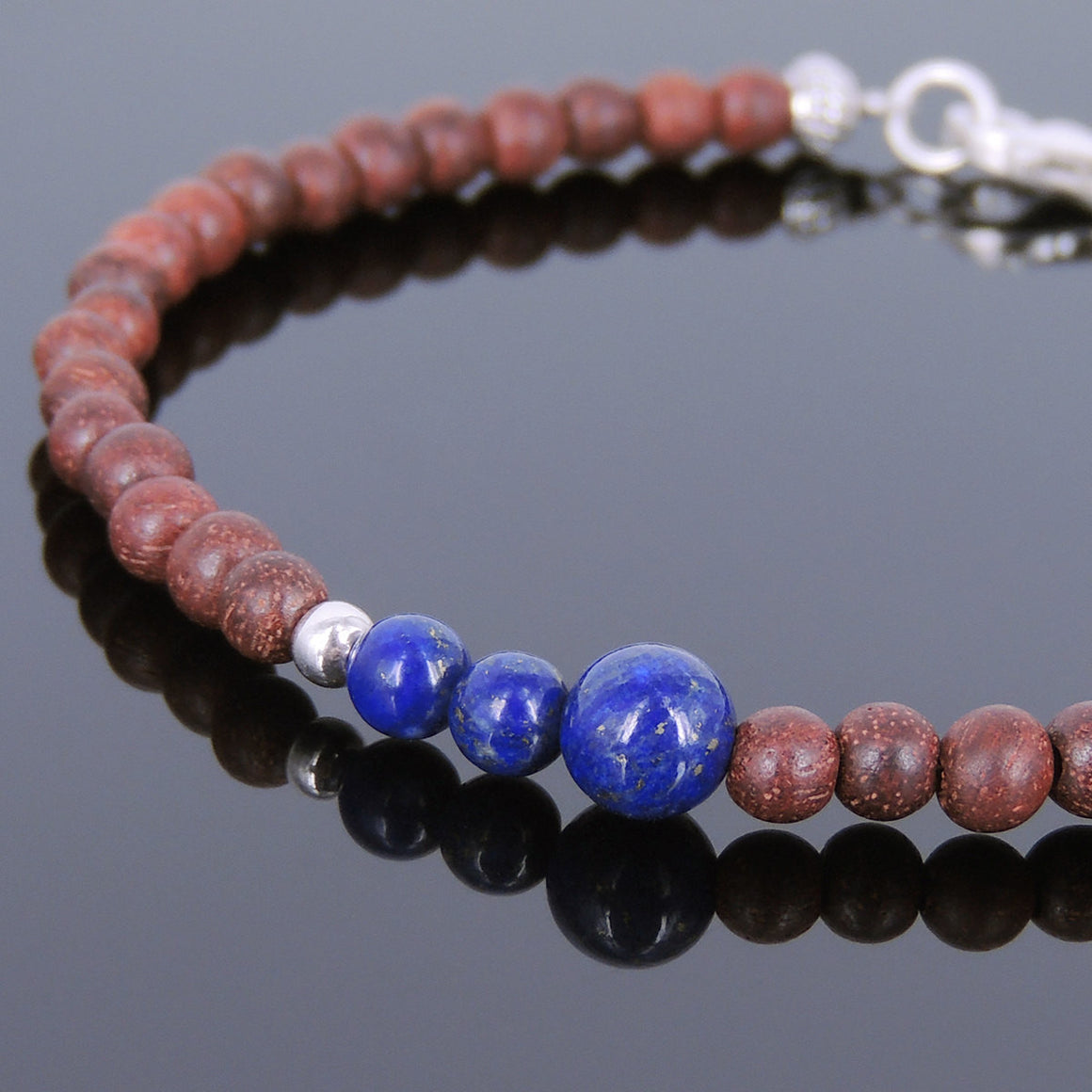 Rosewood & Lapis Lazuli Healing Gemstone Bracelet with S925 Sterling Silver Spacer Beads & Clasp BR199