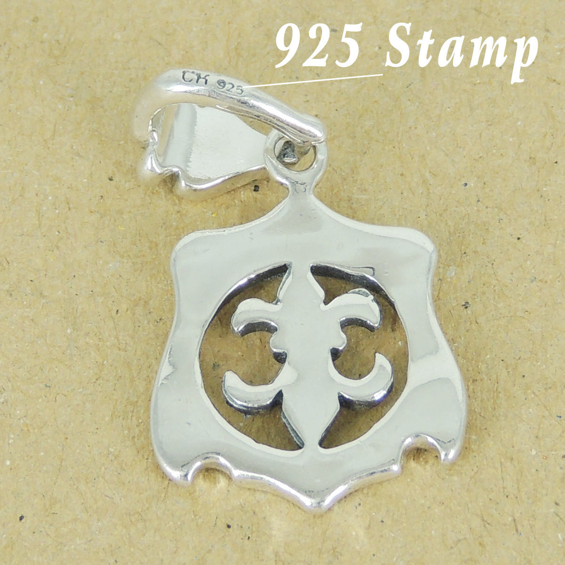 1 PC Elegant Coat of Arms Fleur de Lis Pendant - Genuine S925 Sterling Silver