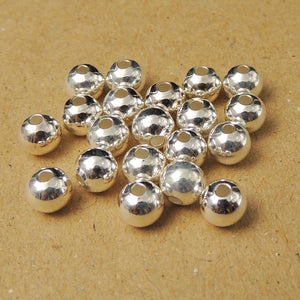 20 PCS 5mm Round Spacer Beads - S925 Sterling Silver - Wholesale by Gem & Silver WSP027X20