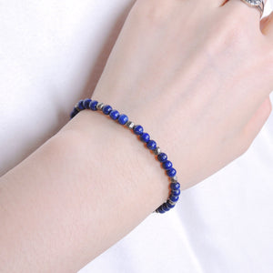 4mm Lapis Lazuli & Faceted Gold Pyrite Healing Gemstone Bracelet with S925 Sterling Silver Spacer Beads & Clasp BR544