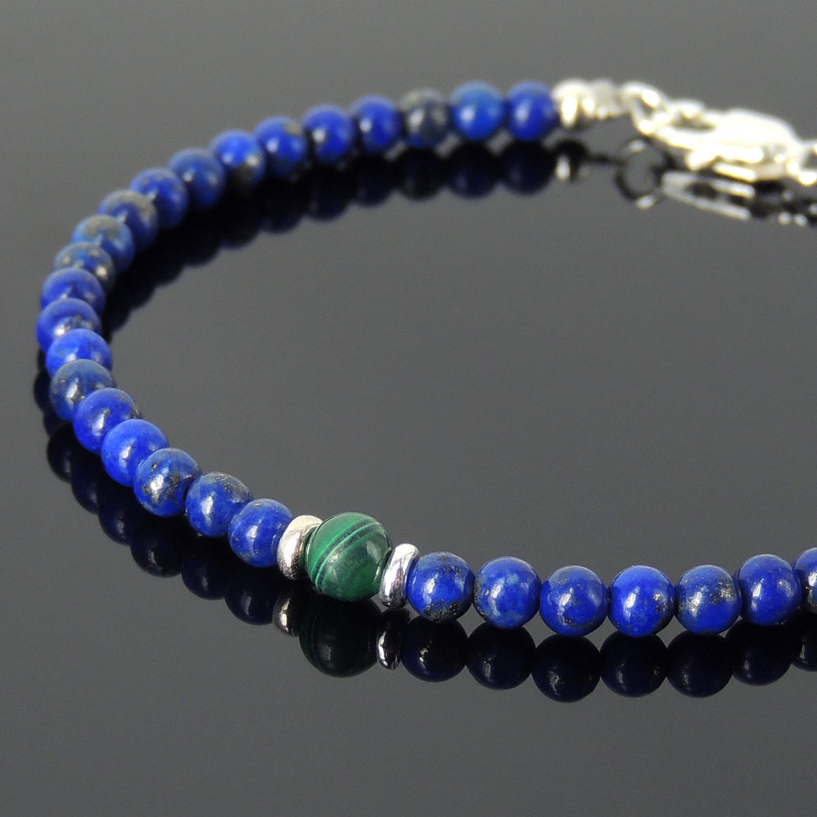 Lapis Lazuli & Malachite Healing Gemstone Bracelet with S925 Sterling Silver Spacer Beads & Clasp BR547