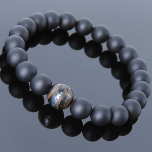 10mm Rare Mixed Blue Tiger Eye & 8mm Matte Black Onyx Healing Gemstone Bracelet - Handmade by Gem & Silver BR549