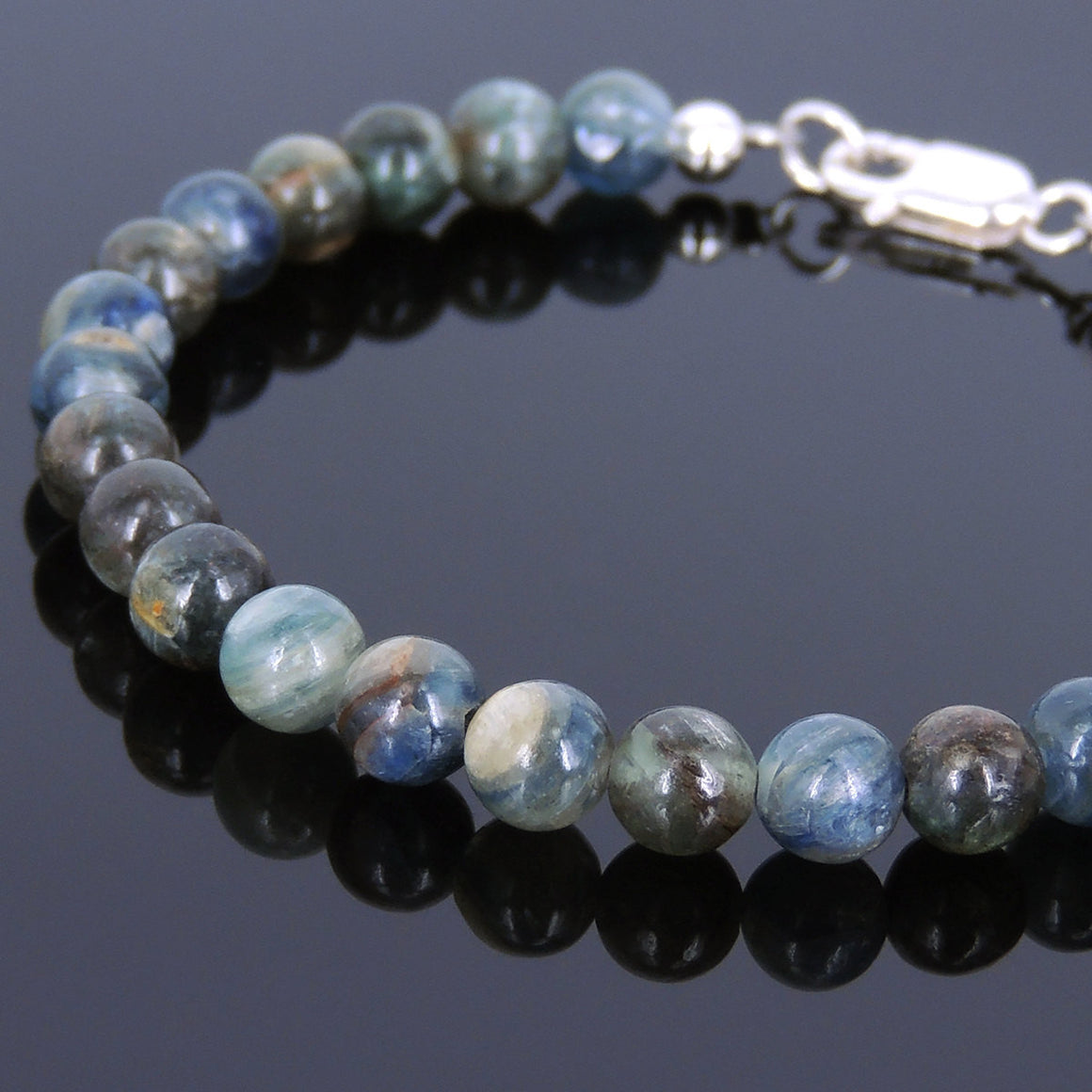 6mm Kyanite Healing Gemstone Bracelet with S925 Sterling Silver Spacer Beads & Clasp - Handmade by Gem & Silver BR556