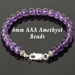 6mm Amethyst Healing Gemstone Bracelet with S925 Sterling Silver Spacer Beads & Clasp - Handmade by Gem & Silver BR357
