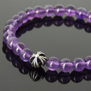 6mm Grade AAA Amethyst Healing Gemstone Bracelet with S925 Sterling Silver Cross Bead - Handmade by Gem & Silver BR399