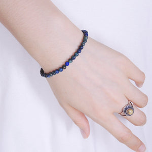 4mm Mixed Chrysocolla Lapis Healing Gemstone Bracelet with S925 Sterling Silver Spacer Beads & Clasp - Handmade by Gem & Silver BR555