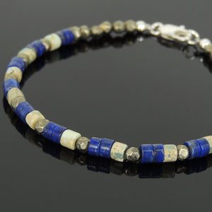 Jasper Stone, Lapis Lazuli, & Faceted Gold Pyrite Healing Gemstone Bracelet with S925 Sterling Silver Clasp BR557