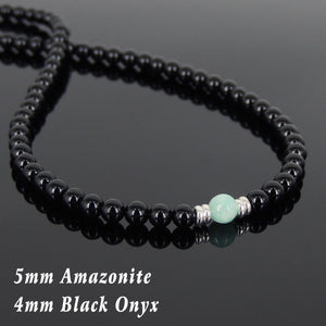 Amazonite & Bright Black Onyx Healing Stone Necklace with S925 Sterling Silver Clasp - Handmade by Gem & Silver NK066