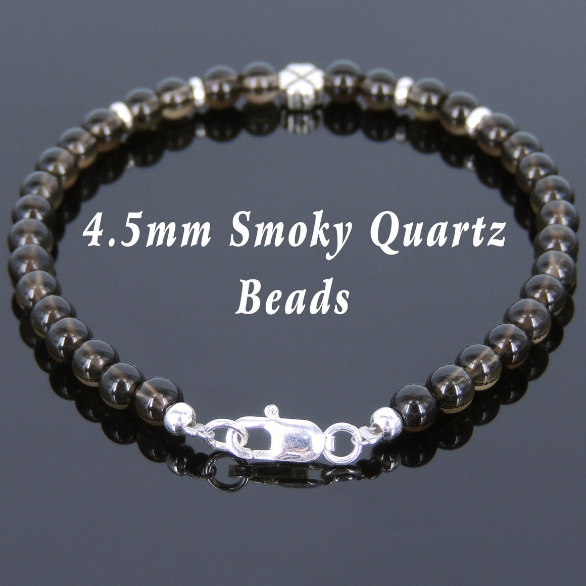 4.5mm Smoky Quartz Healing Gemstone Bracelet with S925 Sterling Silver Four Leaf Clover Seamless Spacers & Clasp - Handmade by Gem & Silver BR562