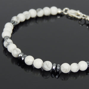 White Howlite & Faceted Hematite Healing Gemstone Bracelet with S925 Sterling Silver Spacer Beads & Clasp - Handmade by Gem & Silver BR563