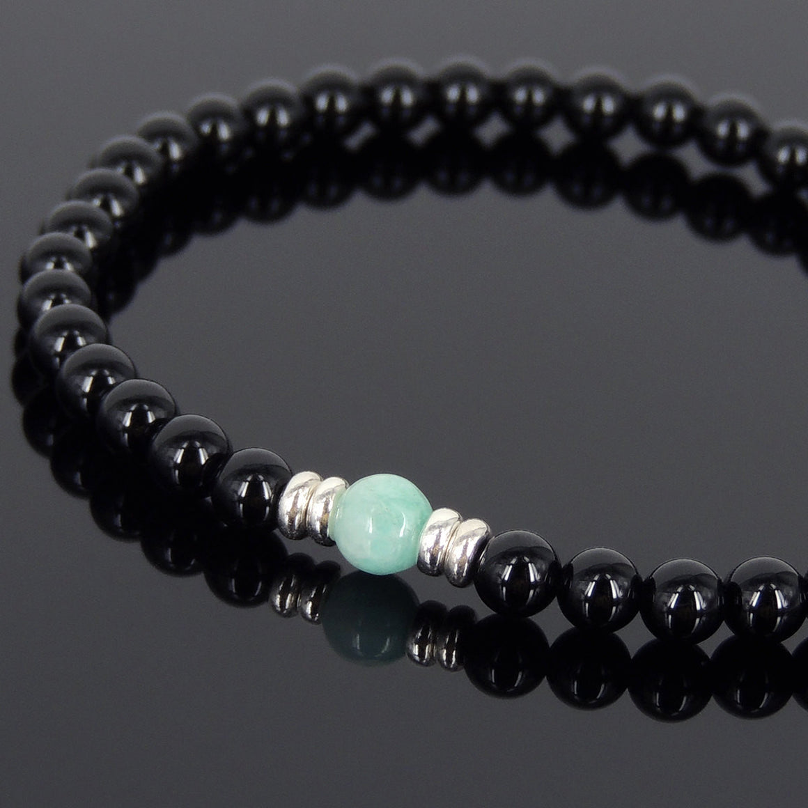 Bright Black Onyx & Amazonite Healing Gemstone Bracelet with S925 Sterling Silver Spacers - Handmade by Gem & Silver BR565