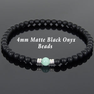 Amazonite & Matte Black Onyx Healing Gemstone Bracelet with S925 Sterling Silver Spacers - Handmade by Gem & Silver BR566