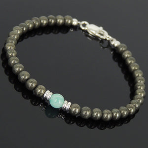 Gold Pyrite & Amazonite Healing Gemstone Bracelet with S925 Sterling Silver Spacer Beads & Clasp - Handmade by Gem & Silver BR567