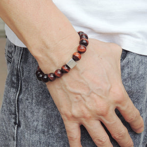 Red Tiger Eye Healing Gemstone Bracelet with S925 Sterling Silver Geometric Cube Bead - Handmade by Gem & Silver BR575