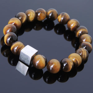 10mm Brown Tiger Eye Healing Gemstone Bracelet with S925 Sterling Silver Geometric Balance Cube Bead - Handmade by Gem & Silver BR574