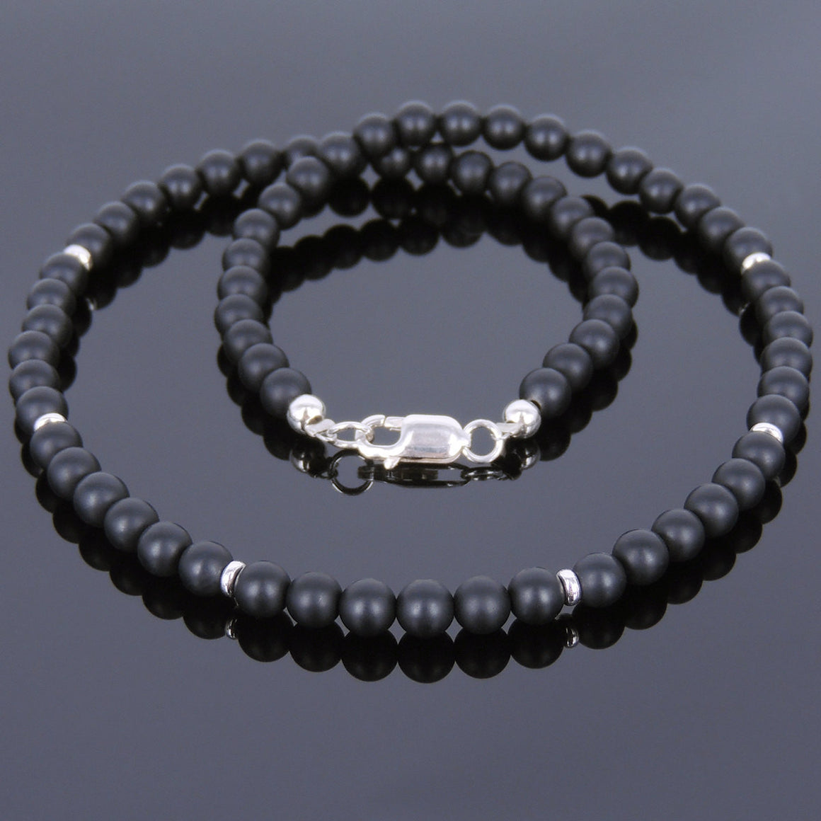 4mm Matte Black Onyx Healing Gemstone Necklace with S925 Sterling Silver Spacer Beads & Clasp - Handmade by Gem & Silver NK069