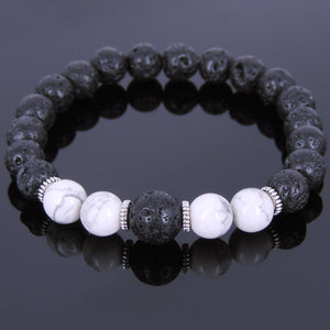 White Howlite & Lava Rock Healing Gemstone Bracelet with Tibetan Silver Spacers - Handmade by Gem & Silver TSB088