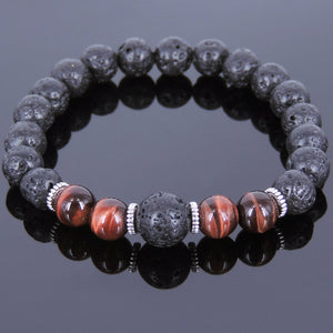 Red Tiger Eye & Lava Rock Healing Gemstone Bracelet with Tibetan Silver Spacers - Handmade by Gem & Silver TSB091