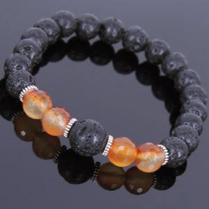 Faceted Red Carnelian & Lava Rock Healing Gemstone Bracelet with Tibetan Silver Spacers - Handmade by Gem and Silver TSB092