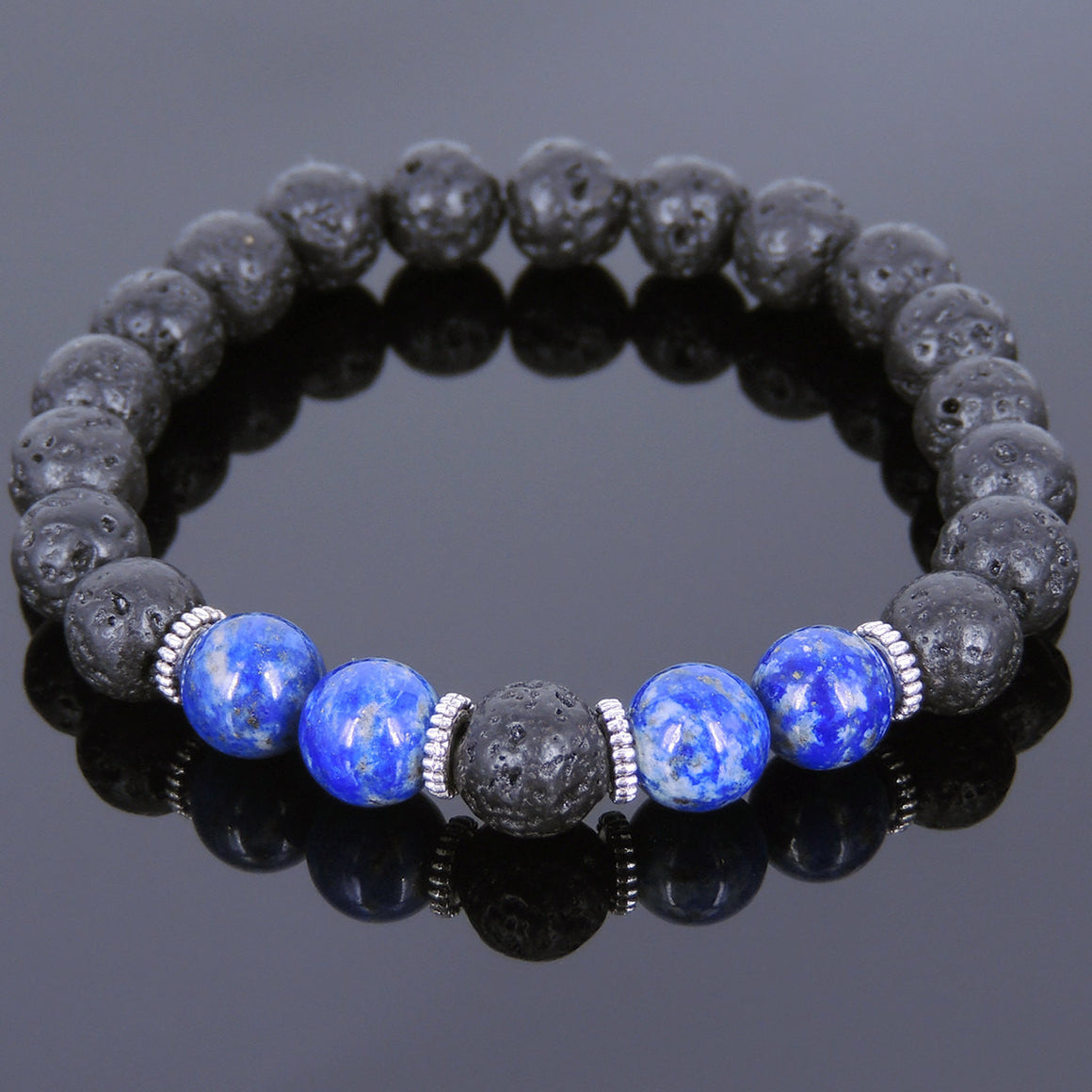 Lapis Lazuli & Lava Rock Healing Gemstone Bracelet with Tibetan Silver Spacers - Handmade by Gem & Silver TSB093