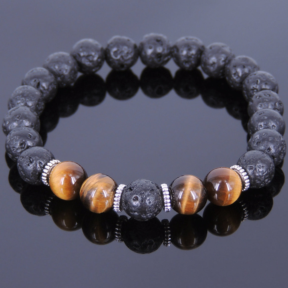 Brown Tiger Eye & Lava Rock Healing Gemstone Bracelet with Tibetan Silver Spacers - Handmade by Gem & Silver TSB097
