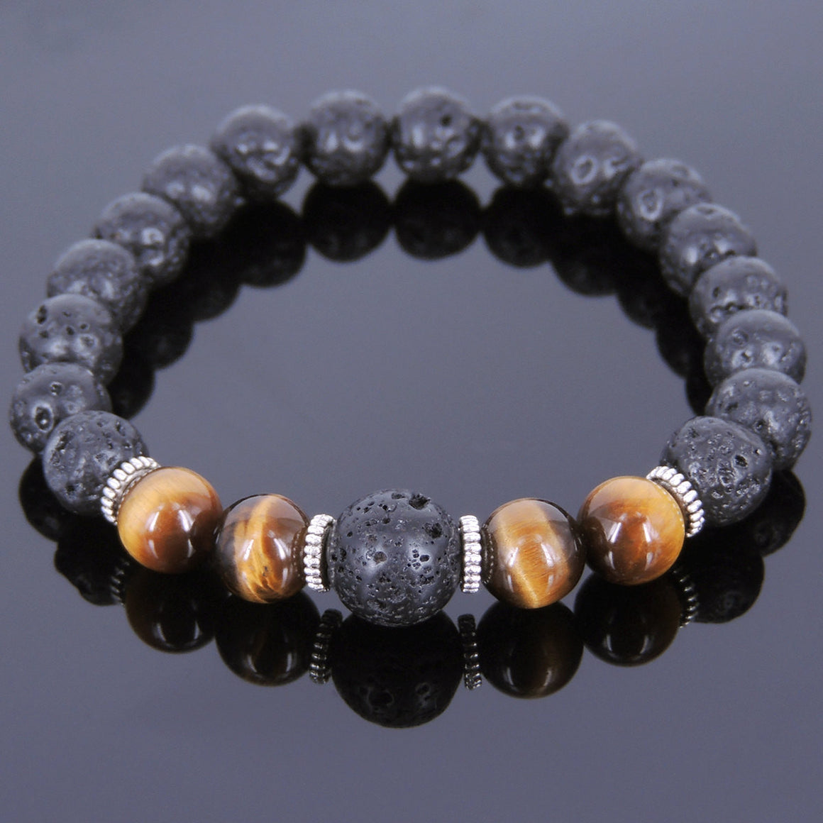Brown Tiger Eye & Lava Rock Healing Gemstone Bracelet with Tibetan Silver Spacers - Handmade by Gem & Silver TSB090