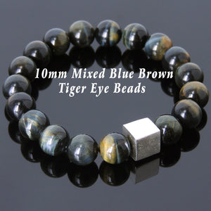 Rare Mixed Brown Blue Tiger Eye Healing Gemstone Bracelet with S925 Sterling Silver Geometric Cube Bead - Handmade by Gem & Silver BR576