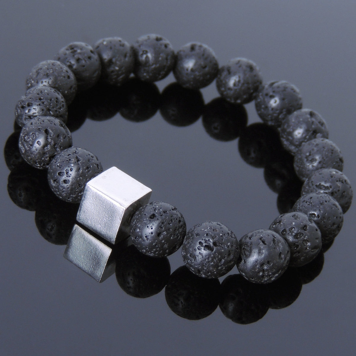 10mm Lava Rock Healing Gemstone Bracelet with S925 Sterling Silver Geometric Cube Bead - Handmade by Gem & Silver BR577