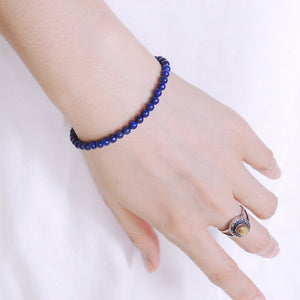 4mm Lapis Lazuli Healing Gemstone Bracelet with S925 Sterling Silver Spacer Beads & Clasp - Handmade by Gem & Silver BR579