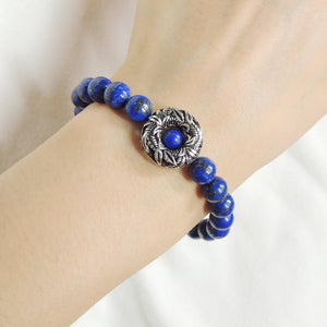 Lapis Lazuli Healing Gemstone Bracelet with S925 Sterling Silver Floral Wreath Charm - Handmade by Gem & Silver BR585