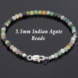 3.5mm Indian Agate Healing Gemstone Bracelet with S925 Sterling Silver Spacer Beads & Clasp - Handmade by Gem & Silver BR582