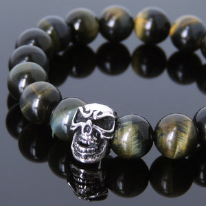 10mm Brown Blue Tiger Eye Healing Gemstone Bracelet with S925 Sterling Silver Skull Charm - Handmade by Gem & Silver BR587