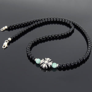 Amazonite & Bright Black Onyx Healing Gemstone Necklace with S925 Sterling Silver Cross Charm Seamless Spacer Beads & Clasp - Handmade by Gem & Silver  NK073