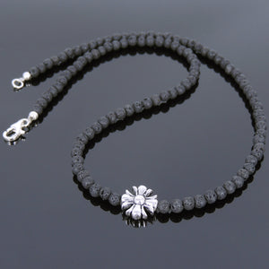 4mm Lava Rock Healing Stone Necklace with S925 Sterling Silver Seamless Beads & Clasp - Handmade by Gem & Silver NK075