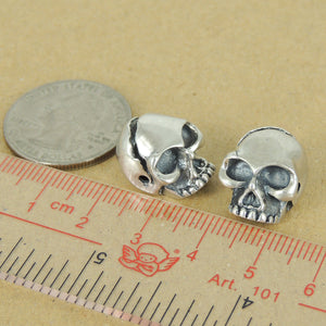 2 PC Protective Skull Beads - S925 Sterling Silver WSP363X2