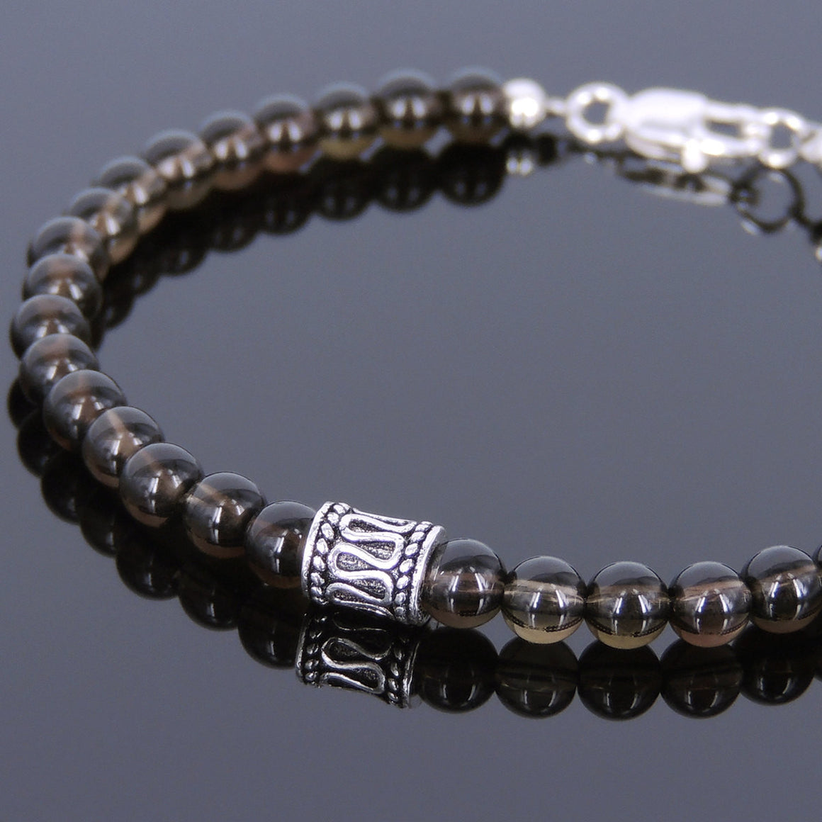 4.5mm Smoky Quartz Healing Gemstone Bracelet with S925 Sterling Silver Spacer Beads & Clasp - Handmade by Gem & Silver BR591