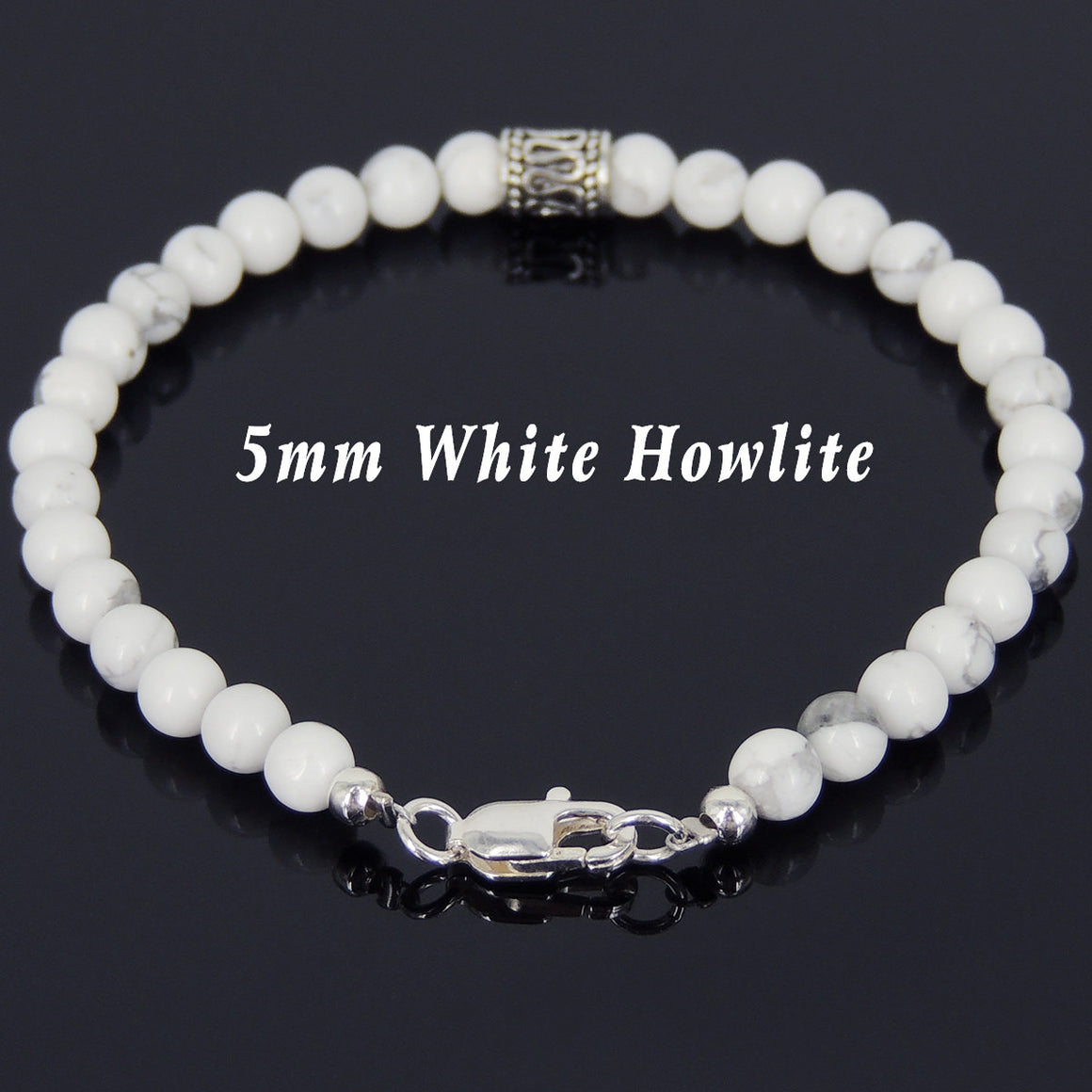 5mm White Howlite Healing Gemstone Bracelet with S925 Sterling Silver Artisan Barrel Bead & Clasp - Handmade by Gem & Silver BR592