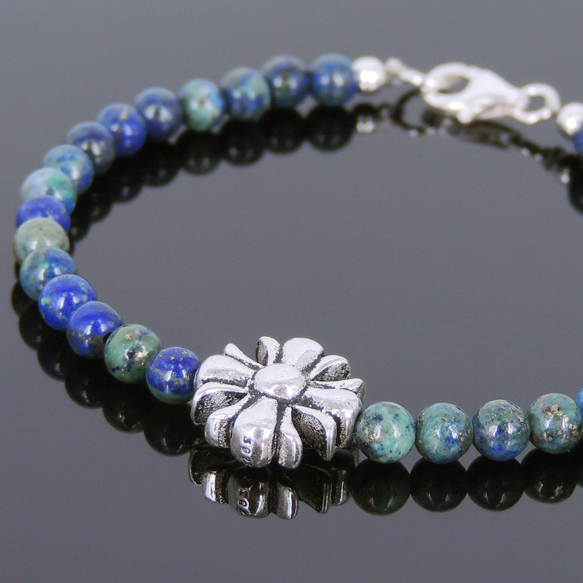 4mm Mixed Chrysocolla Lapis Healing Gemstone Bracelet with S925 Sterling Silver Cross Charm - Handmade by Gem & Silver BR600
