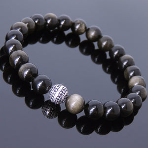8mm Golden Obsidian Healing Gemstone Bracelet with S925 Sterling Silver Artisan Bead - Handmade by Gem & Silver BR602