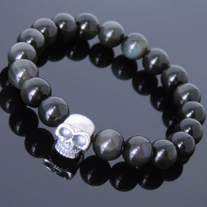 10mm Rainbow Black Obsidian Healing Gemstone Bracelet with S925 Sterling Silver Skull Protection Charm - Handmade by Gem & Silver BR606