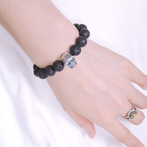 10mm Lava Rock Healing Stone Bracelet with S925 Sterling Silver Protection Skull Charm - Handmade by Gem & Silver BR607