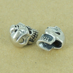 2 PCS Catacomb Skull Bead - S925 Sterling Silver WSP374X2