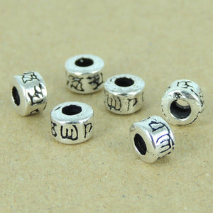 6 PCS Buddhism Barrel Beads - S925 Sterling Silver WSP379X6